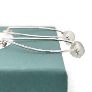 Clear Seaglass Earrings – Silver Hoops with Aquamarines