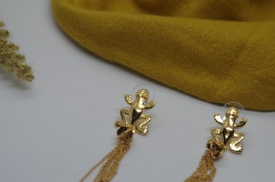 Continente Dorado Precolombian Frog Earrings Gold