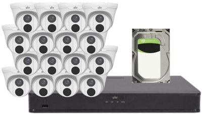 UNV Uniview UNV 5MP CCTV Kit 16 x Fixed turret cameras, 1 x NVR with 1 x 6TB hard drive