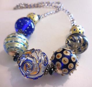 "Beadoire Glass Lampwork Glass Bead Necklace ""TWILIGHT ZONE"""
