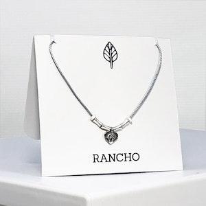 Fancy Heart and Long Bone Bead Necklace