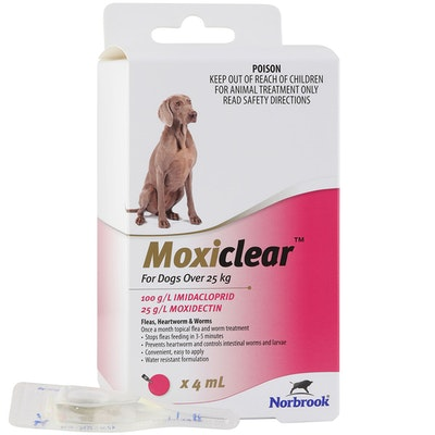 MOXICLEAR Fleas & Worms Treatment for Dogs Over 25kg Pink - 2 Sizes