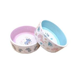 """Queenie's Pawprints Ceramic Pet Bowl """"Fantasy Unicorn"""""""
