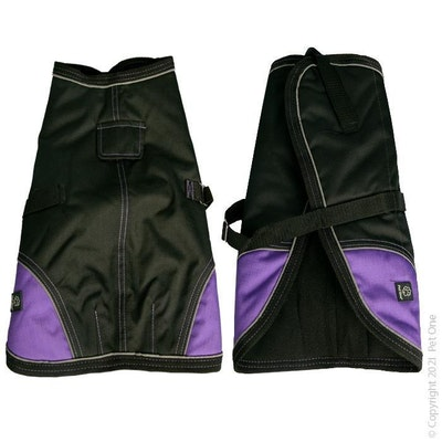 Pet One Dog Coat Night Walker Waterproof Reflective Black Purple
