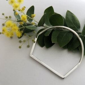 Squared off sterling silver bangle