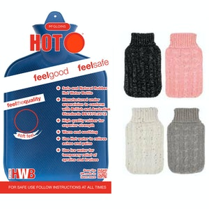 Boutique Medical 2L HOT WATER BOTTLE with Knit Sparkles Cover Winter Warm Natural Rubber Bag - ACCC Approved