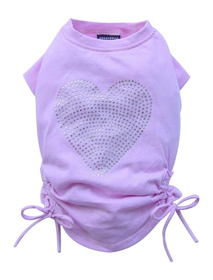 DoggyDolly THICK DOG - Pink Love Heart Doggy T Shirt