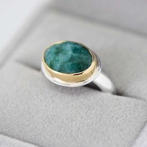 Emerald Mixed Metal Ring