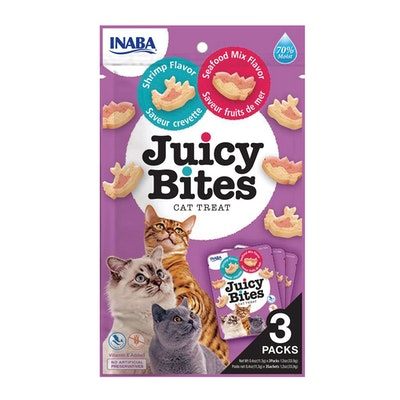 INABA Juicy Bites Cat Treat Shrimp & Seafood Mix Flavor 6 x 34g