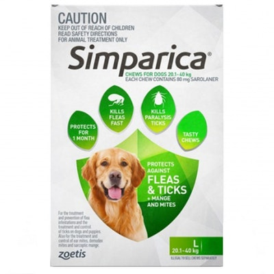 SIMPARICA 20.1-40kg Large Dog Tick & Flea Chewable Treatment - 2 Sizes