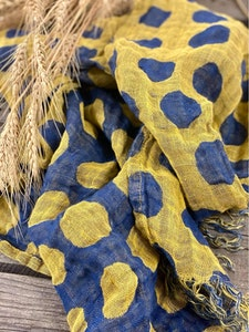 Bright Blue and Yellow Dot Linen Scarf
