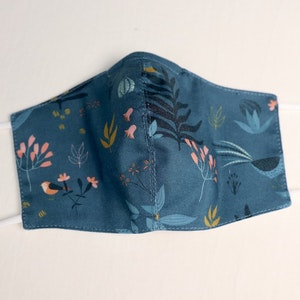 Reusable Cotton Face Mask made from Korean fabric (Child/Adult) - Navy Botanical