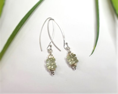 Uniqu-Lea Yours Beautiful Green Amethyst and Hill Tribe Silver Earrings