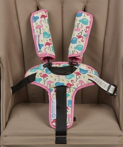 Keep Me Cosy™ Harness Cover & Buckle Cosy for Pram or Car Seat - Flamingo