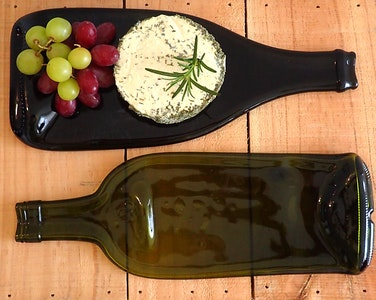 Upcycled wine bottle platter   Cheese board
