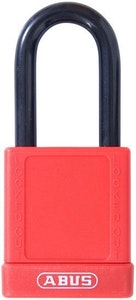 ABUS 74/40 Lock Out Tag Out (LOTO) lightweight aluminium padlock with red vinyl encased body keyed alike KA6 key KO5800