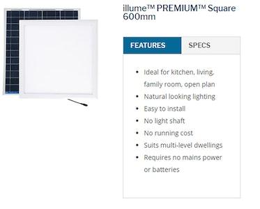 Sky Lights 600mm Square Solar Powered LED Kimberley Illume