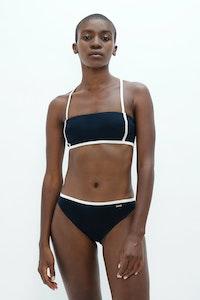 1 People Brisbane Classic Style Bikini Top in Dark Blue Pebble