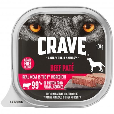 CRAVE Adult Beef Pate Wet Dog Food 100G