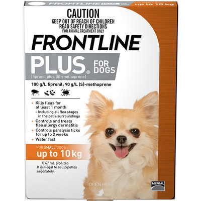 Frontline Plus Small Dog 0-10kg Orange Topical Tick & Flea Control - 2 Sizes