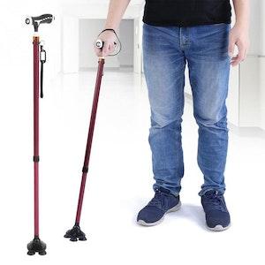 Boutique Medical Walking Stick Cane Folding With Light LED Strap Handle Metal Adjustable - 4 Legs