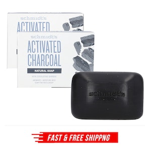 2x SCHMIDT'S 142g NATURAL SOAP FOR FACE & BODY ACTIVATED CHARCOAL