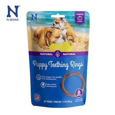 N-Bone Natural Puppy Teething Ring Pumpkin Flavor 6pks - PUMPKIN Flavor