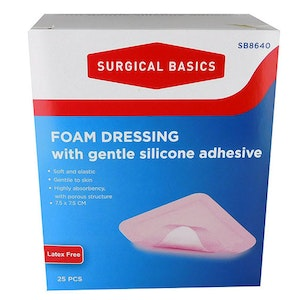 Surgical Basics Foam Dressing with Gentle Silicone Adhesive 25pcs