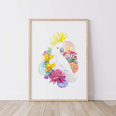 Watercolour by Cat Cockatoo with Australian Native Plant