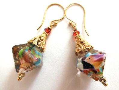 Beadoire Glass Lampwork Glass Earrings   'Monet' 2021