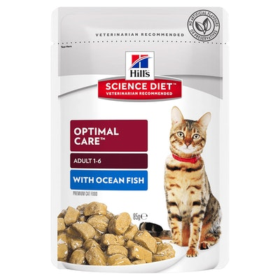 Hills Adult 1+ Optimal Care Wet Cat Food Ocean Fish 12 x 85g