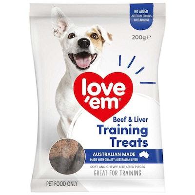 Love'em Love Em Dog Food Beef Liver Training Mini Treats 200g x 6 Pack