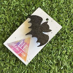 Bat Brooch - Glitter Black Bat Brooch - Laser Cut Acrylic Bat Brooch.