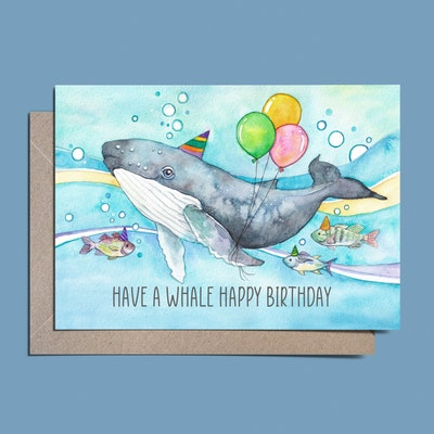 Watercolour by Cat Watercolour Whale Birthday Card// Have a whale happy birthday