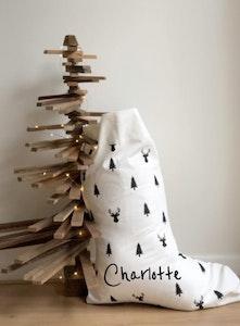 Santa Stocking Reindeer & Trees - Santa Font