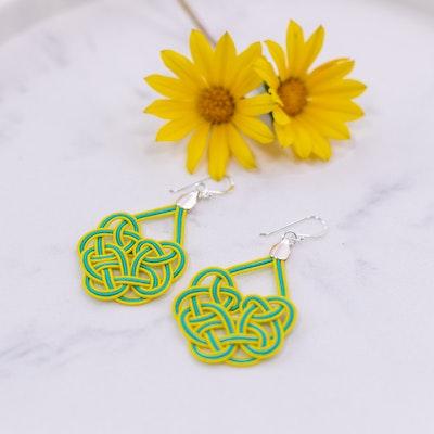 Tomi Art Geisha Earrings - Lime Green and Yellow