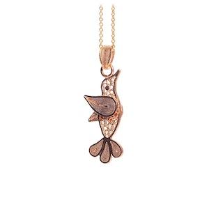Hummingbird Filigree Pendant -Rose Gold Plated-