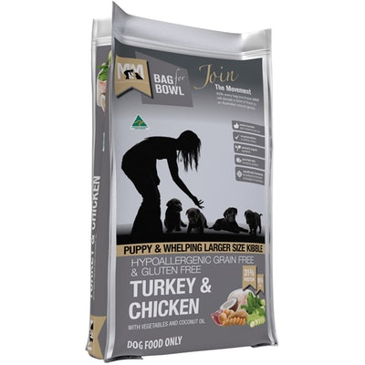 MEALS FOR MUTTS MFM Puppy & Larger Size Kibble Grain Free Turkey & Chicken Dog Food - 3 Sizes