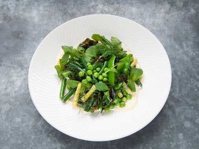 Spring vegetables, shiso and horseradish
