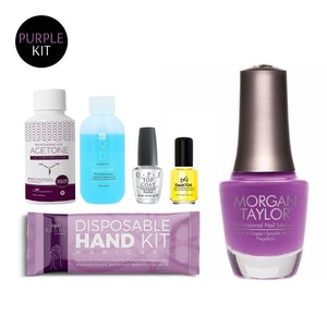 Manicure Kit + Purple Polish | Hand Kit Cuticle Oil Top Coat Cleanser Remover