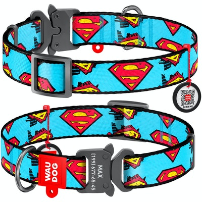 WauDog by the Collar Company WauDog Nylon Dog Collar -Superman  - Sizes: X-Small, Small, Medium, Large