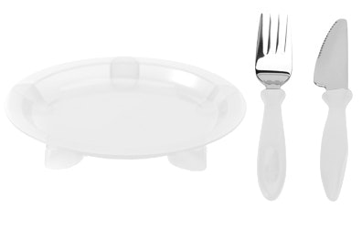 Steadyco Lets Eat Plate Knife & Fork White