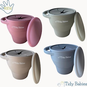 Tidy Babies  Collapsable Silicone Baby Snack Cup With Lid And Handle