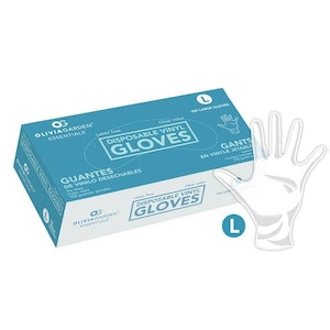 Disposable Powder-Free Non-Latex Vinyl Gloves - Clear (100 Pack) Size Large