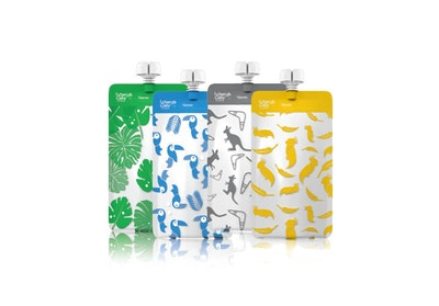 On the Go Reusable Food Pouch Maxi's Bundle – Grey, Yellow, Blue, Green