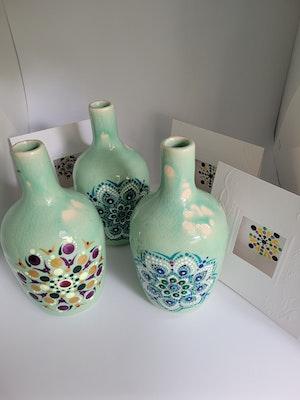 Divine Dotting Vase Hand Painted Dot Art