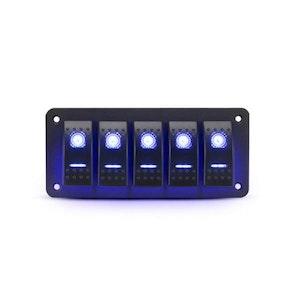 6 Gang Rocker Switch Panel 12V 24V Pre Wired Dual Led