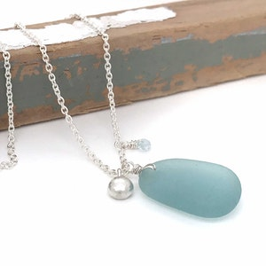 Long Silver Necklace with Japanese Aqua Seaglass and Silver Pebble Charm