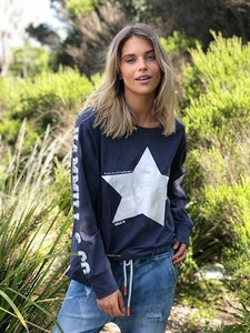 Hammill & Co - Navy Long Sleeve Tee With White Star