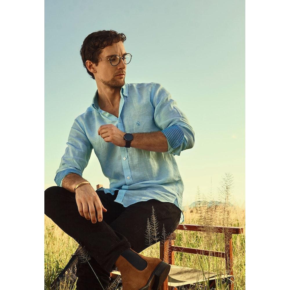 Koy Clothing Mawimbi Turquoise Linen Shirt